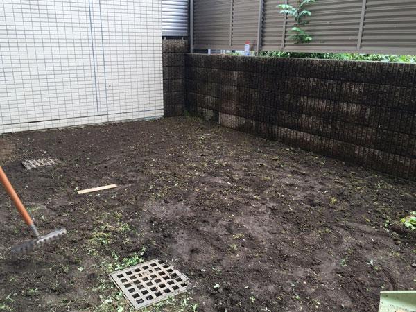 施工前:東京都豊島区/天然芝の芝張り