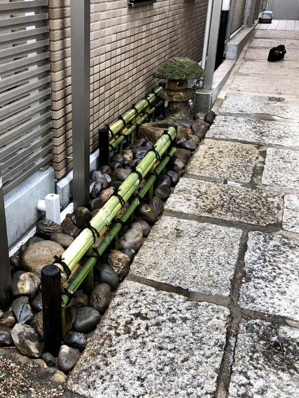 施工後:東京都/金閣寺垣と灯篭の設置