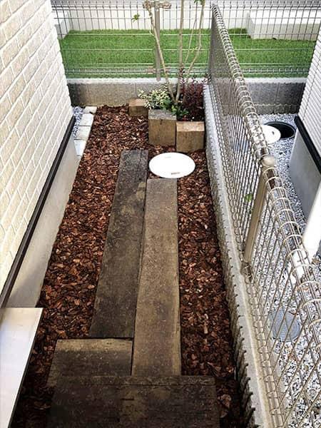 施工後:東京都小金井市/枕木を使用したお庭づくり